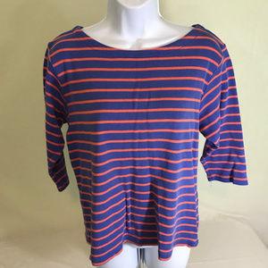 LL Bean womens striped 3/4 sleeve shirt